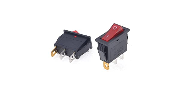 eDealMax 2 x AC15A / 250V 30A / 125V de la luz roja de encendido/apagado 2 Posición SPST Rocker: Amazon.com: Industrial & Scientific