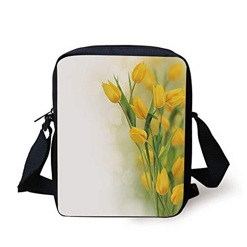 - Yellow Flower,Romantic Tulip Bouquet Famous Plant of Netherlands Botanical Theme Decorative,Mustard Fern Green Print Kids Crossbody Messenger Bag Purse