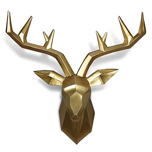LEDMLSH Deer Head Wall Decore Animal Head Living Room Dining Room Wall Decorations Pendant Nordic Style Black/White/Gold (Color : Gold)