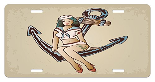 Tattoo Sailor Heart (Anchor License Plate by Ambesonne, Pinup Girl with Sailor Outfit Shark and Heart Tattoo Vintage Twenties Illustration, High Gloss Aluminum Novelty Plate, 5.88 L X 11.88 W Inches, Multicolor)