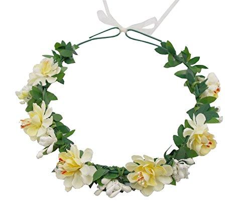 Love Sweety Flower Headband Floral Crown Garland Halo for Wedding Festival (Ivory) (Flower Headpiece Halloween)