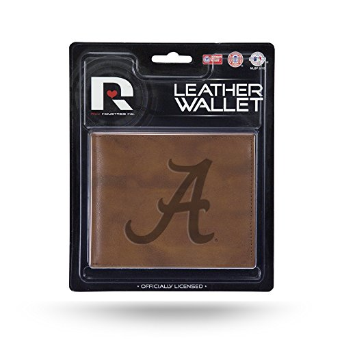 Rico NCAA Alabama Crimson Tide A Embossed Leather Billfold Wallet with Man Made Interior