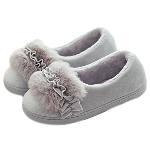 Cybling Womens Winter Pluche Cute Cartoon Slipper Antislip Comfortabele Huisschoenen Grijs