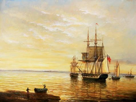 Oil Painting 'Peaceful Seascape Of Sailing Ships', 8 x 11 inch / 20 x 27 cm , on High Definition HD canvas prints is for Gifts And Bar, Game Room And Garage Decoration, cheapwall (Spirit Halloween Utah)