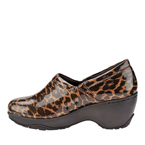 Round Womens Leather Bryar Nurse Clogs Mates Toe Leopard FaPZg1g