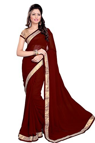 Sourbh Faux Georgette Lace Saree (6352 _Maroon)