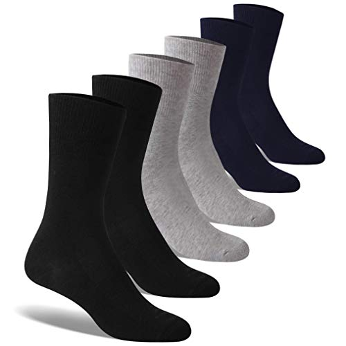Mens Diabetic Loose Top - Forcool Mens Wide Calf Socks, Women's Men's Diabetic Socks Dress Cotton Crew Extra Large with Non Binding Top Seamless Toe 6 Pairs Large Black/Gray/Navy Blue