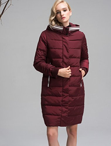 Mordenmiss Women's Long Sleeve Thicken Warm Winter Hooded Down Jacket Coat Style 4-M-Burgundy B-3-A6-1 by Mordenmiss (Image #3)