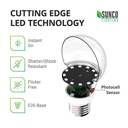 Sunco Lighting 6 Pack A19 LED Bulb with Dusk-to-Dawn, 9W=60W, 800 LM, 6000K Daylight, Auto On/Off Photocell Sensor - UL
