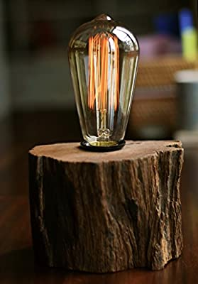 Industrial Lamp Vintage Edison Bulb with Drift Wood Base - E27/110V/40W Bulb - Adjustable Dimmable Light - Art Log Furniture - Desk Table Lamp Rustic Retro Antique Style