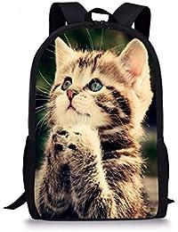 Funny Animal Cat Pattern Daily Travel Backpacks for Kids School Bookbag