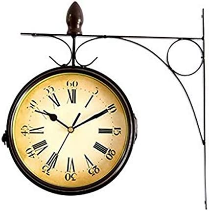 CVXCVCBCG Reloj de Pared Números Romanos Grandes Reloj de Pared Soporte Exterior Exterior de Doble Cara for jardín Negro: Amazon.es: Hogar