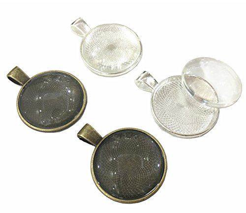 30 Pieces Silver Pendant Trays Round Bezel Pendant Blanks Cameo Bezel Cabochon Settings with 25 mm 30 Pieces Glass Cabochon Round Dome Tiles Clear Cameo,Totally 60 Pieces (Silver and Bronze)