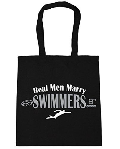 Hippowarehouse Genuino Uomo Sposare Borsa Da Spiaggia Per Nuotare Nuotatore 42cm X38cm, 10 Litri - Nero, Taglia Unica