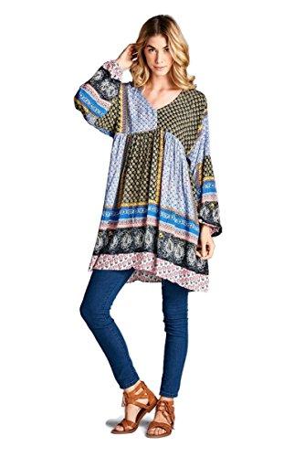 Velzera Color Block Paisley Print Tunic Dress Boho Chic (Medium, Black/Blue) Paisley Print Silk Dress