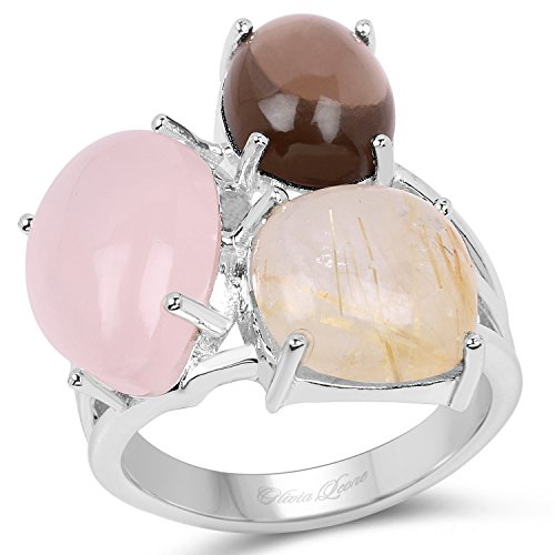 10.89 Carat Genuine Rose Quartz, Smoky Quartz and Golden Rutile .925 Sterling Silver Ring