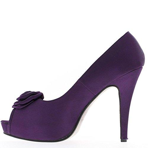 Grande aprire toe scarpe dimensioni viola raso tacco 13cm