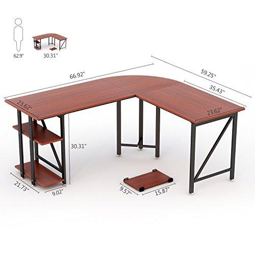 """cb3463d5bfeb Large L-Shaped Desk, LITTLE TREE 67"""" Modern Corner Computer Desk ..."""