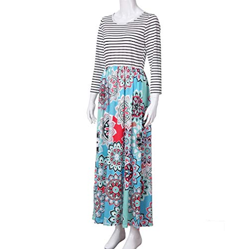 aliveGOT Women's Striped Floral Print Long Sleeve Tie Waist Maxi Dress with Pockets (Light Blue, L) by aliveGOT (Image #5)