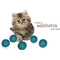 Meowfia Wool Ball Toys - 6-pack of Safe for Cats and Small Dogs balls - 1.5 Inch Felted Wool Cat and Dog Toy - Silent - Mini Tennis Balls - 6-Pack