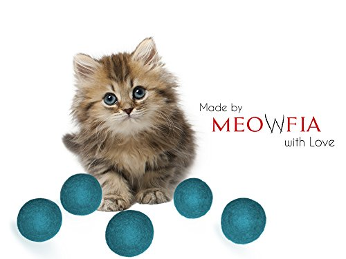 Wool Ball Toys - Safe for Cats and Small Dogs - 1.5 Inch Felted Wool Cat and Dog Mini Tennis Balls - 6-Pack