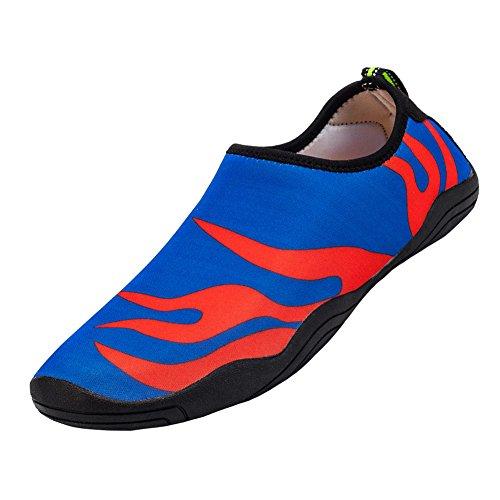 Matari Hombres Beach Zapatos De Agua Zapatos De Natación Al Aire Libre Calzado Slip-on Aqua Zapatos Blue Red