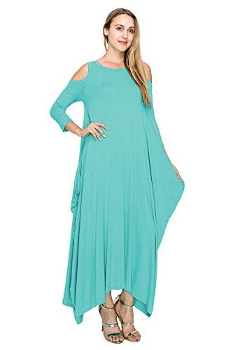J Doe Harem Épaule Ouverte Style Boho Maxi Femmes 3/4 Robe À Manches (taille: S-5x) Neuf