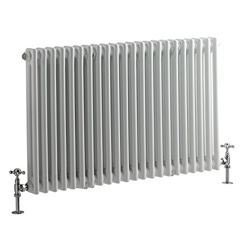 (Hudson Reed - Regent - Crisp White 2 Column Horizontal Radiator In Traditional Cast-Iron Style - 23.5