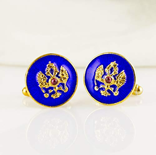 Garnet Cufflinks Gold - Blue Cuff-Links Double Headed Eagle Enamel Sterling Silver Gold Vermeil Garnet Russian Cuff Links For Men
