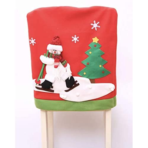 Gillberry Christmas Santa Claus Chair Back Cover Snowman Elk Ski Dinner Table Party Decor (B)