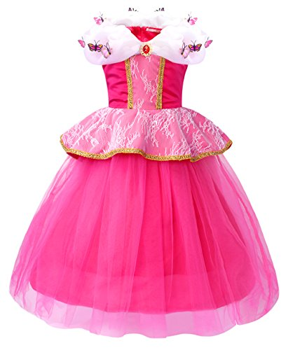 HenzWorld Aurora Dress Costume Girls Princess Birthday Party Sleeping Cosplay Outfit 4T ()