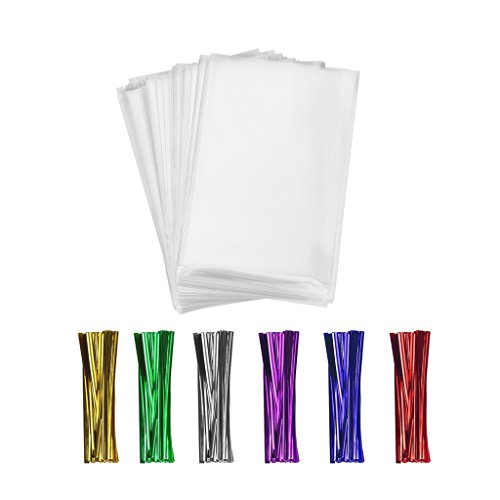 600 Clear Cello/Cellophane Treat Bags and Ties 4x6-1.4 mils OPP Plastic Poly Bags for Gift in Bulk for Lollipop Cake Pop Candy Buffet Chocolate Cookie Wedding Supply (4'' x 6'')