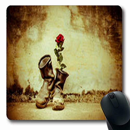Grunge Lace - Pandarllin Mousepads Vintage Old Boots Rose On Lace Grunge Cowboy Rugged Oblong Shape 7.9 x 9.5 Inches Oblong Gaming Mouse Pad Non-Slip Rubber Mat