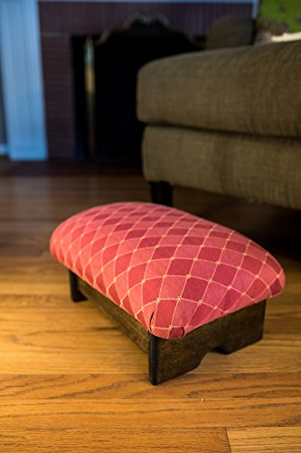 "KR Ideas Padded Foot Stool 7"" Luxury Fabrics (Made in the USA) (Rococo Red- Walnut)"