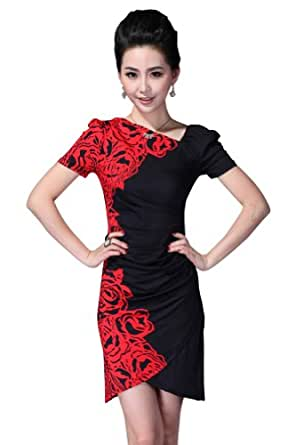 Women's Stylish Short Sleeves Floral Print Party Bridesmaid Basic Short Dress-Short Red-S