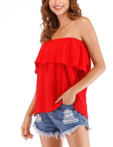 Hioinieiy Women's Summer Casual Off Shoulder Tube Top Chiffon Sleeveless Flowy Blouse Strapless Ruffle Swing Shirt Red L ()