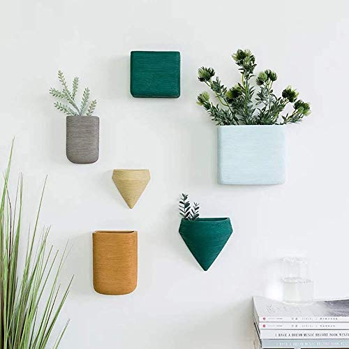 Wall Decor Planters 6 Set Morandi Color Ceramic Hanging Geometric Wall Decor Container - Great Succulent Plants, Air Plant, Faux Plants (Hanging Plant Containers)