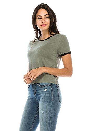 Football Womens Cut T-shirt (The Classic Junior Women Slim Fit Summer Basic Lightweight Comfy Ringer tee t Shirt (Medium, SageBlack))