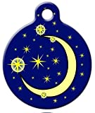 Moon and Stars - Custom Pet ID Tag for Dogs and Cats - Dog Tag Art