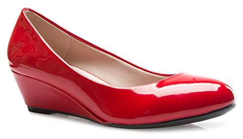OLIVIA K Women's Close Round Toe Low Wedge Glitter Rhinestone (Sexy Red Patent Shoes)