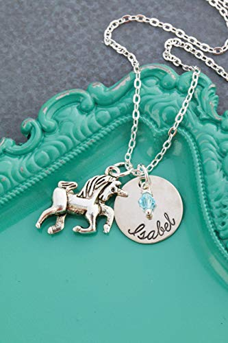 Personalized Unicorn Necklace – DII AAA - Little Girls Gift – Fantasy – 5/8 Inch 15MM Disc – Customize Name – Choose Birthstone Color – Fast 1 Day (Children Personalized Gift)