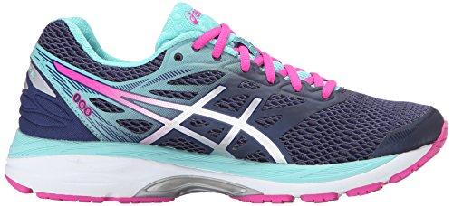 Asics Women's Gel-Cumulus 18 Running Shoe, Blue/Silver/Safety Yellow, 5.5 B US Indigo Blue/Silver/Pink Glow