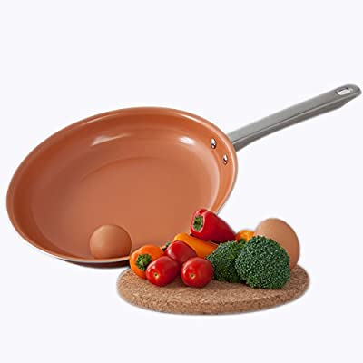 Healthy Chef's Copper Frying Pan With Nonstick Coating - Induction Frying Pan Oven Safe Copper Fry Pan