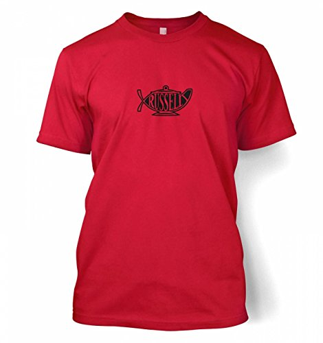"Bertrand Russell Teapot Ichthys T-shirt - Red Medium (38/40"")"