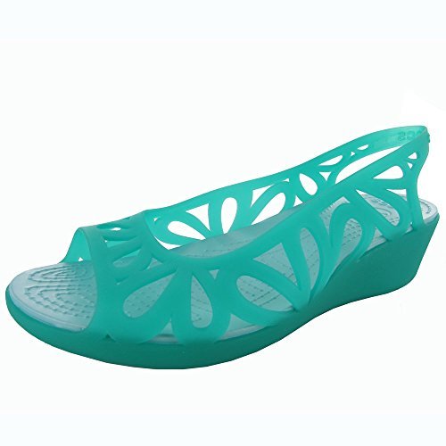 Crocs Womens Adrina III Mini Wedge Sandal Shoes, Tropical Teal/Ice Blue, US 11 (Heel Mini Platform Sandal)