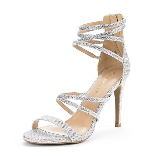 DREAM PAIRS Women's Show Silver Glitter High Heel Dress Pump Sandals - 10 M US ()