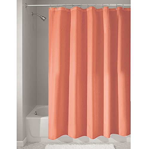 InterDesign Mildew-Free Water-Repellent Fabric Shower Curtain, 72-Inch by 72-Inch, Coral (14637) by InterDesign