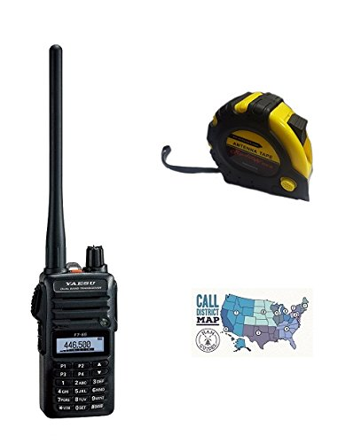 Bundle - 3 Items - Includes Yaesu FT-65R - 2 Meter/70cm Dual Band FM Handheld Transceiver with The New Radiowavz Antenna Tape (2m - 30m) and HAM Guides Quick Reference Card