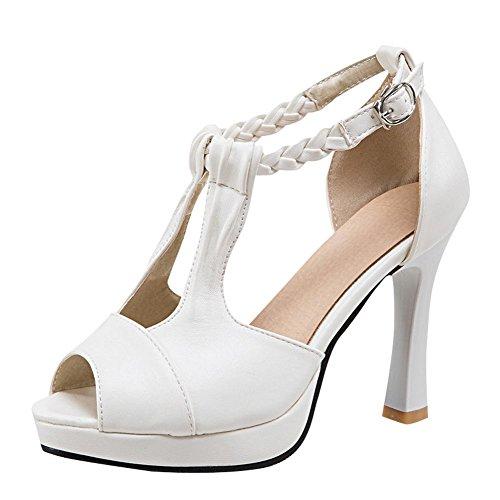 Carolbar Women's Chic Sexy High Heel Peep Toe Platform Buckle Sandals White xpZSOgg