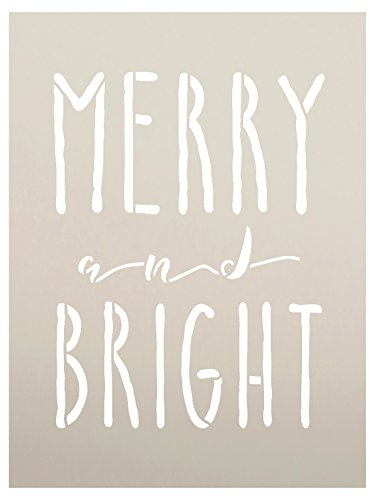 Merry And Bright Word Stencil by StudioR12 | Reusable Mylar Template | Painting, Chalk, | Farmhouse Style, Vintage Country Christmas, Holiday, DIY Home Decor - CHOOSE SIZE (6 x 8)
